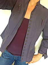 La Redoute Purple Women Zip Up Military Jacket w/ Pockets & Brass Studs Size 10
