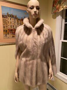 Natural Tourmaline Cream Ivory Gray Mink Real Fur Jacket Cape Shrug Shawl Medium