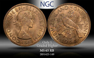 1964 NEWZEALAND PENNY NGC MS 65 RB ONLY 1 GRADED HIGHER #D