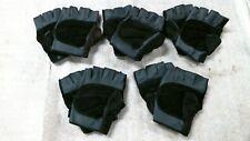 Medium Navy Blueblack Leather Open Fingered Work Gloves Lot Of 5 Pairs
