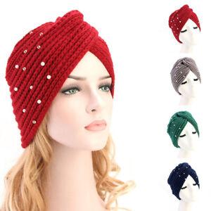 Women Beaded Knit Turban Hat Headband Bonnet Headscarf  Hair Loss Head Wrap√