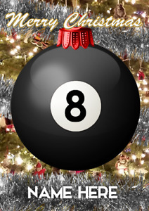 Snooker Pool 8 Ball Bauble Merry Christmas Personalised Card A5 Any Name RB238
