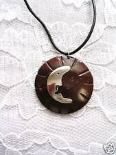 NEW BROWN COCONUT SHELL w MOON CRESCENT ALPACA SILVER INLAY ADJ NECKLACE