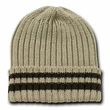 Khaki & Brown Sweater Stripe Beanie Beanies Winter Warm Ski Skull Cap Hat Hats