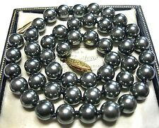 """Pretty VINTAGE 1950's Black Pearl BEAD Hand Knotted Jewellery 17.5"""" NECKLACE"""