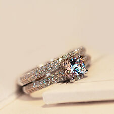 Silver/Rose Gold Round CZ Wedding Band Engagement Ring Set Women's Size 4-9