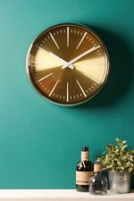 Retro Wall Clock Metal Chrome Gold Glass Polished Battery Operated Vintage
