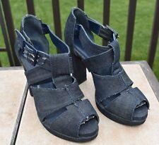 Gap Women's Design Editions Denim Peep Toe Platform Chunky Heel Shoe Sz. 9 M EUC