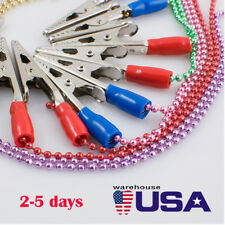 USA 5 Pcs Dental Patient Metal Bib Clips Chains Napkin Holder Flexibl Ball Chain