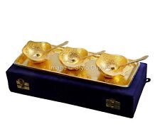 Designer Silver & Gold Plated Brass Tray Spoon Bowl Set 7Pcs With Box Packing