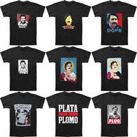 Men's Narcos Pablo Escobar Escos Graphic TV T-shirt Black