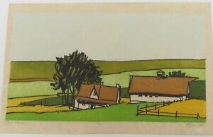 """1974 Elgas Grim Woodblock Print """"Hill Farm"""" Nebraska California Regionalist"""