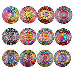 Mix Rainbow Pattern Photo Glass Cabochon Embellishment Round Dome Jewelry Making