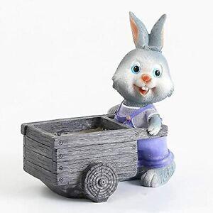 Cute Cartoon Polyresin Gardener Bunny Pot for Succulent Cactus Flowers Pot Vase