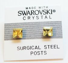 Yellow Square Stud Earrings 6mm Light Crystal Made with Swarovski Elements Gift