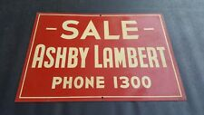 "Vintage Red For Sale Realtor Sign Ashby Lambert Phone 1300 ~ 20"" x 14"""