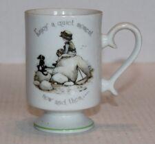 Vtg Holly Hobbie Genuine Porcelain Enjoy a quiet moment now & then Pedestal Mug