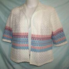 Vtg 70s 80s Multicolor Open Knit Geometric Nylon/Polyester L/S Cover-Up Size L