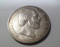 1872 NETHERLANDS 2 1/2 GULDEN  VF VERY FINE SILVER 2.5 Guilder