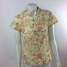 Lemon Grass Studio Women's PL Short Sleeve Blouse Peach Flowers Crushed Look
