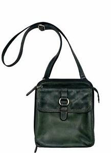 Fossil Traveler Wallet Crossbody Pebbled Leather Handbag Purse Bottle Green