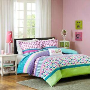 Adorable Girl Kids owl PINK PURPLE GREEN TEAL BLUE AQUA Comforter Set Polka Dot