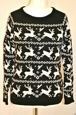LADIES UK 10 CHRISTMAS BLACK REINDEER JUMPER NEW WITH TAGS
