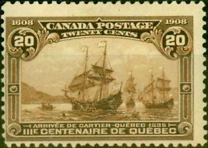 Canada 1908 20c Dull Brown SG195 Fine Mtd Mint