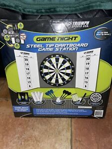 Triumph Sports Game Night Steel Tip Darts/Dartboard  Game Station       B3