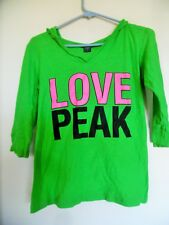 Women Green Love Peak Hooded Top 3/4  Sleeves Size S