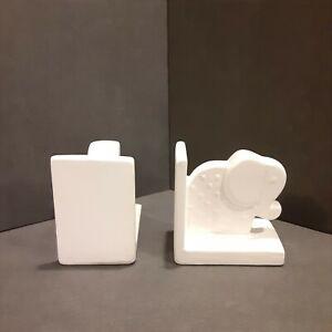 Ceramic Elephant Kids Nursery Room Bookends White Baby Shelf