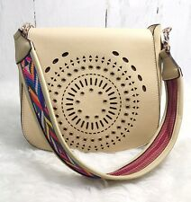 """NEW GUSSACI Tan Faux Leather Shoulder Bag with 13"""" Tassel, Great Trim"""