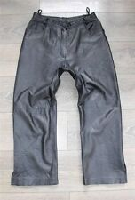 "Black Leather Biker Motorcycle Cropped Women's Trousers Pants Size W31"" L25"""