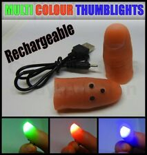 ULTIMATE MULTI COLOUR LIGHT UP THUMB TIP X 2 MAGIC TRICK FULLY USB RECHARGEABLE