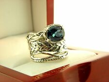 Israel Sterling Silver London Blue Topaz Detailed Ring Size 8.25 #6