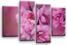 FLORAL FLOWER ART Picture Pink Grey White Spring Blossom Canvas Wall Split