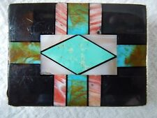 BUCKLE Geometric Stone-To-Stone Inlay*1-INCH BELT *JET TURQUOISE SPINY-OYSTER*