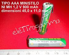 BATTERIA ministilo AAA NiMh 900mAh terminali a saldare ricaricabile 1,2 volt