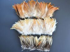 300+ Rooster feathers natural real hackle feathers brown beige ivory mixed lot
