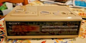 Vintage SONY DREAM MACHINE FM/AM Digital Alarm Clock Radio ICF-C2W Beige