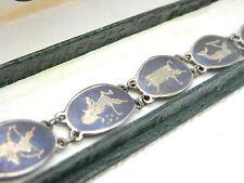 Vintage Siam Sterling Silver Thailand Dancer Chain Link Bracelet