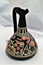 Ceramic Greek Ewer , Reproduction a BLACK with CREAM & PINK DESIGNS dw36