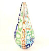 Vaso murano con grosse murrina colorata soffiato a bocca e fatto a mano