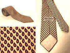 """Vintage Oleg Cassani Hughes & Hatcher Tie Men's Cream Red Paisley 100% Silk 57"""""""