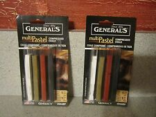 2 Brand New Packages of General's Multi Pastel Compressed Chalk - 4 Ct ea pkg