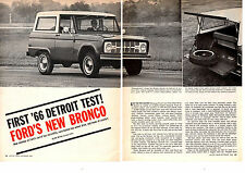 1966 FORD BRONCO  ~  NICE ORIGINAL 6-PAGE ROAD TEST / ARTICLE / AD