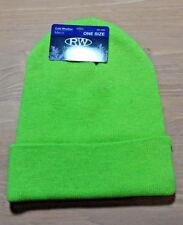 Green Fluorescent KNIT CUFF Beanie Hat Watch Cap Warm Winter NWT RUGGED WEAR