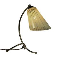 Tisch Leuchte Messing Krähenfuß Tütenlampe Design Lese Lampe Vintage 50er #2/2