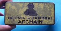 Ancien Coffret Boîte Vide métal vintage Bêtises de Cambrai Afchain confiserie