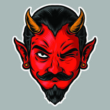 DIABLE ROUGE MOUSTACHE TETE FACE DEVIL RED DECAL ART AUTOCOLLANT STICKER FPD001